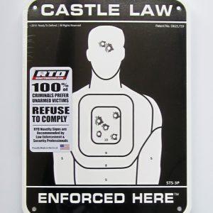STS-3P Super-Tough Plastic Sign Panel - Castle Law Enforced Here-0